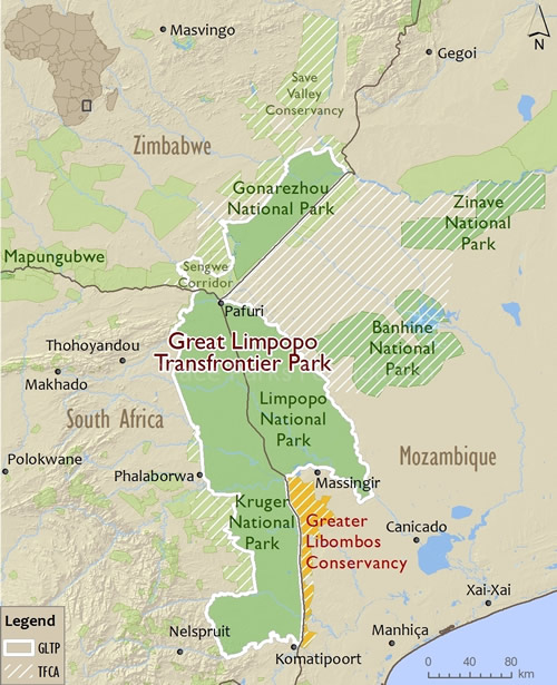 Map of the Great Limpopo Transfrontier Conservation Area