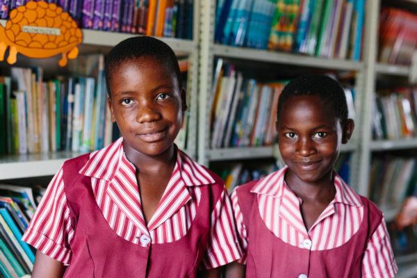 School children in library
